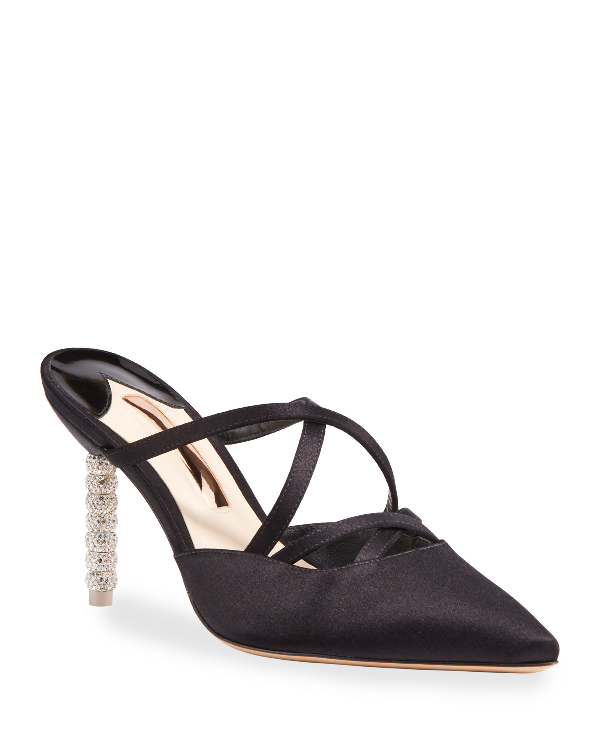 Sophia Webster Coco Crystal Mid-Heel Mules In Black