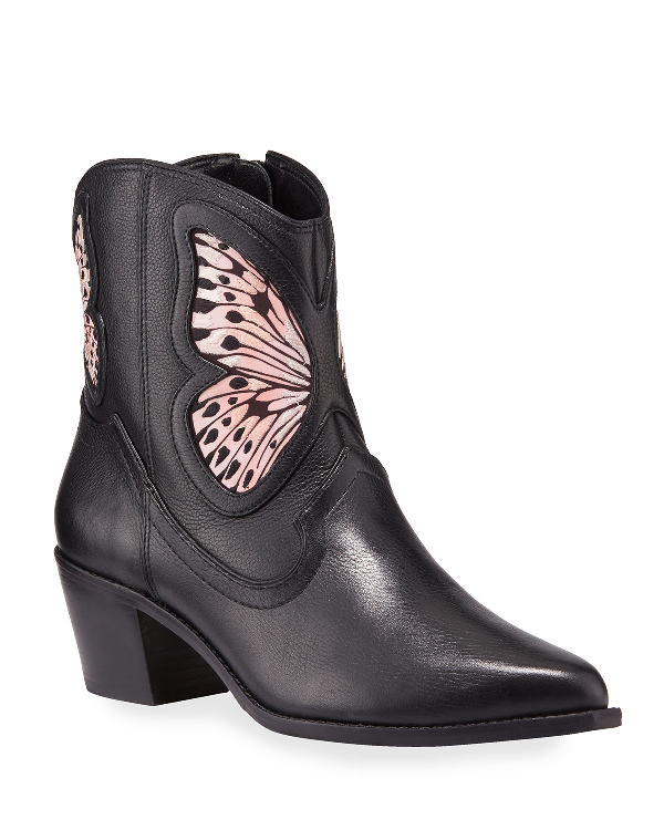 Sophia Webster Shelby Leather Butterfly Booties In Black/Nude