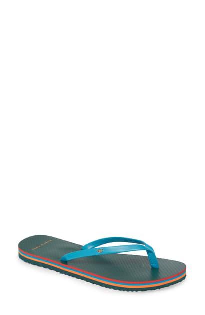 Tory Burch Leather Flip-Flop Sandals In Transkei Blue / Multi