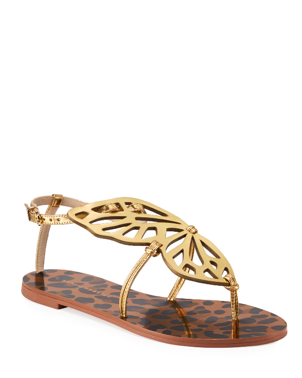 Sophia Webster Butterfly Leopard Flat Sandals In Leopard Gold