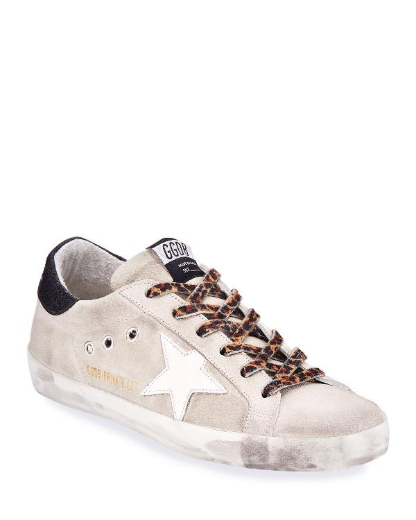 Golden Goose Superstar Suede And Leopard Sneakers In Ice Suede Leopard