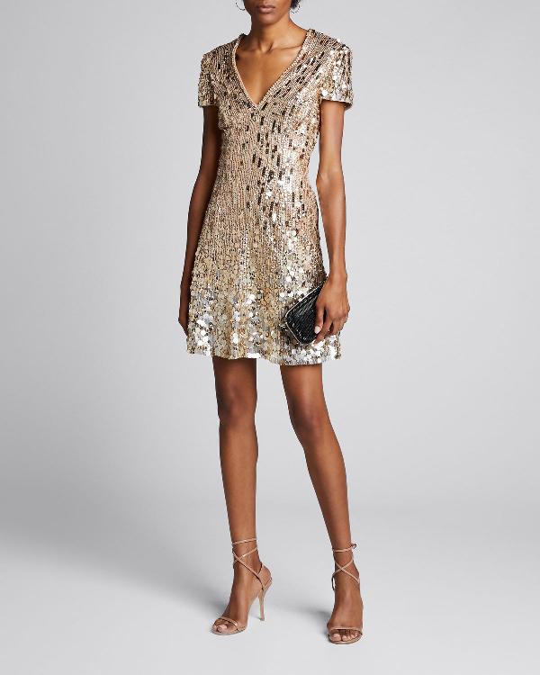 Jenny Packham Cap-Sleeve Deep V Cap-Sleeve Dress In Silver
