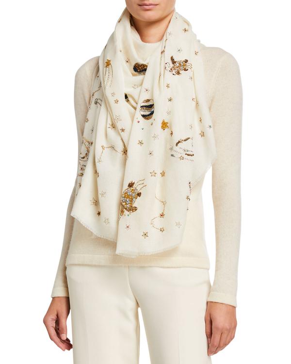K Janavi Galaxy Embellished Cashmere Scarf In Ivory