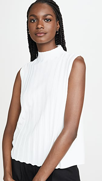 Vince Rib Front Sleeveless Turtleneck Top In Off White