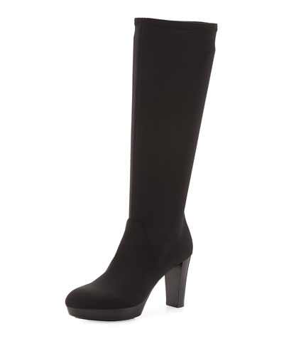 Donald J Pliner 'Echoe' Stretch Crepe Tall Boot (Women) In Black Crepe