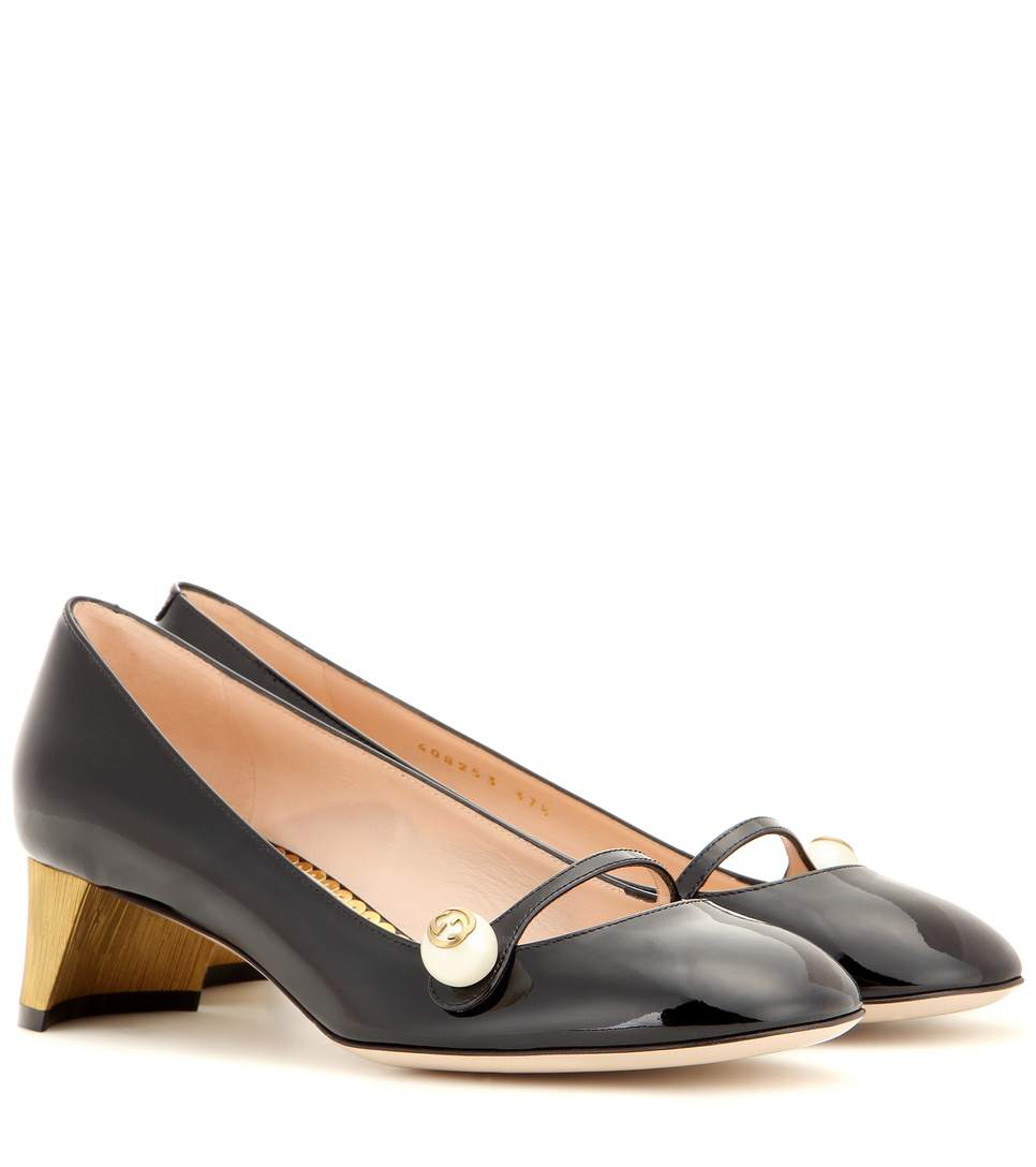 3020b1642 Gucci Black Patent Leather Pearl Detail Mary-Jane Pumps | ModeSens