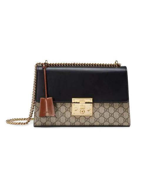 9e44c12f Gucci Linea C Gg Supreme Lock Shoulder Bag, Black/Brown | ModeSens