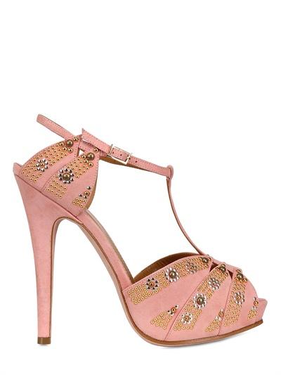 Lerre 130Mm Studded Suede T-Bar Sandals In Beige