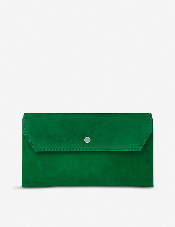Lk Bennett Dora Suede Clutch Bag In Gre-green