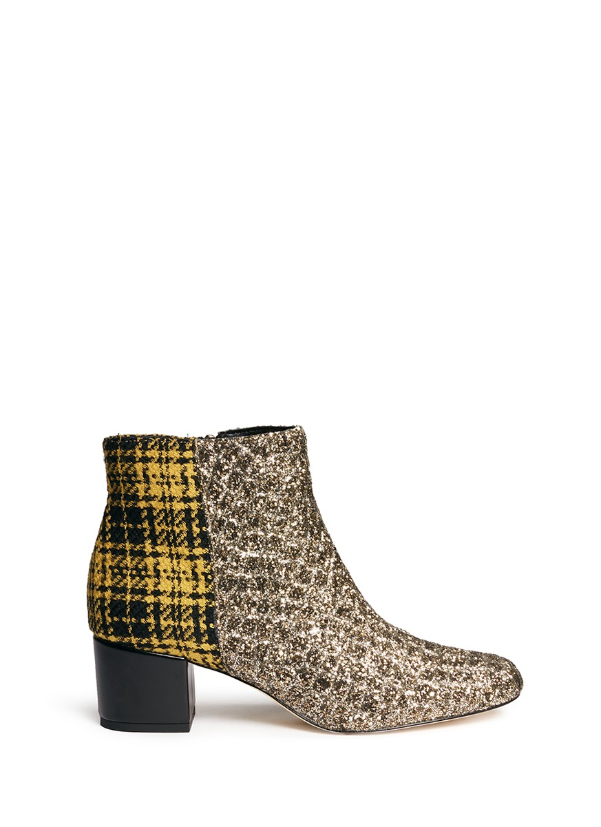 b58931fbec1e Sam Edelman  Edith  Plaid Tweed Glitter Ankle Boots In Gold  Amber ...