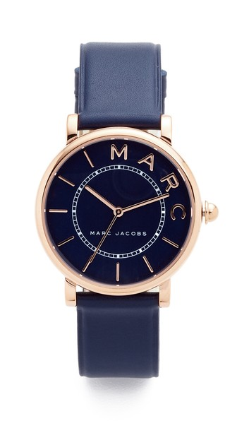 Marc Jacobs Women's Roxy Navy Leather Strap Watch 36Mm In Rose Gold/Navy Satin/Navy