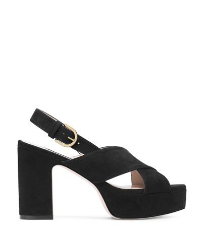 Stuart Weitzman Women's Jerry Block High-Heel Platform Sandals In Black Suede