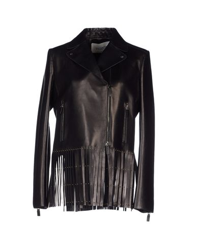 Valentino Leather Jacket With Fringe In Black