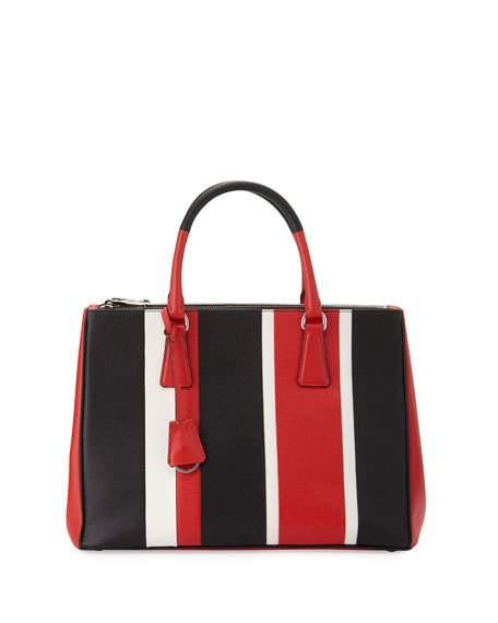 05f7cc9c0b24 Prada Saffiano Baiadera Striped Galleria Tote Bag, Red/White/Black (Lacca/