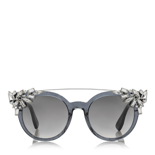 b0d3675dcb806 Jimmy Choo Vivy 20Th Grey Round Framed Sunglasses With Detachable Jewel Clip  On In Grey Mirror
