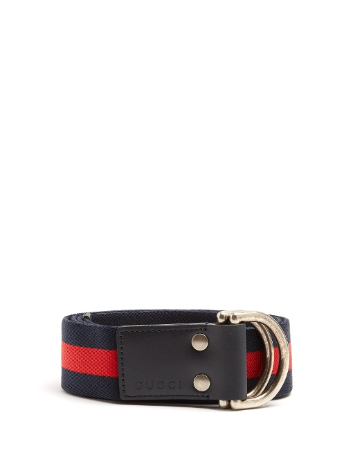 964990161 Gucci D-Ring Striped Canvas Belt In Blue | ModeSens