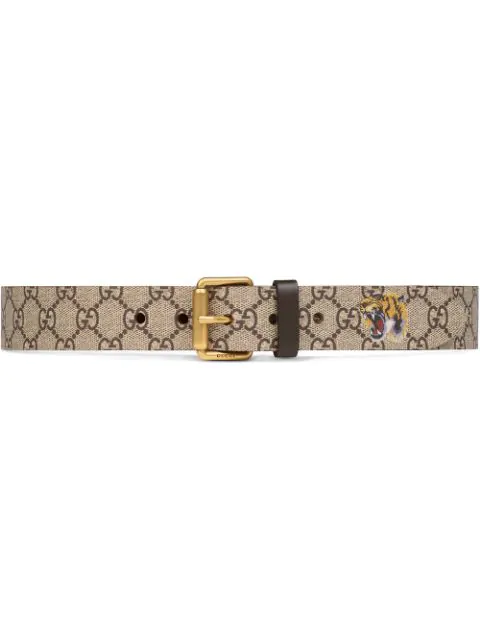 Gucci Men's Gg Tiger Leather Belt In Brown In 8692 Beige