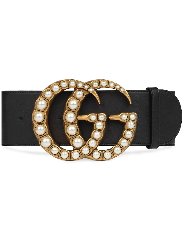 1f1eb86642d3 Gucci Wide Leather Belt W/ Pearlescent Beads, Black/Cream