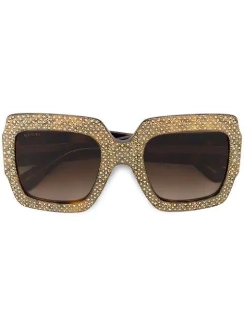 Gucci Oversize Square-Frame Rhinestone Sunglasses In Brown