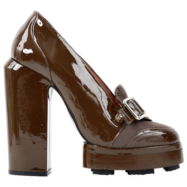 Carven Khaki Patent Leather Heels