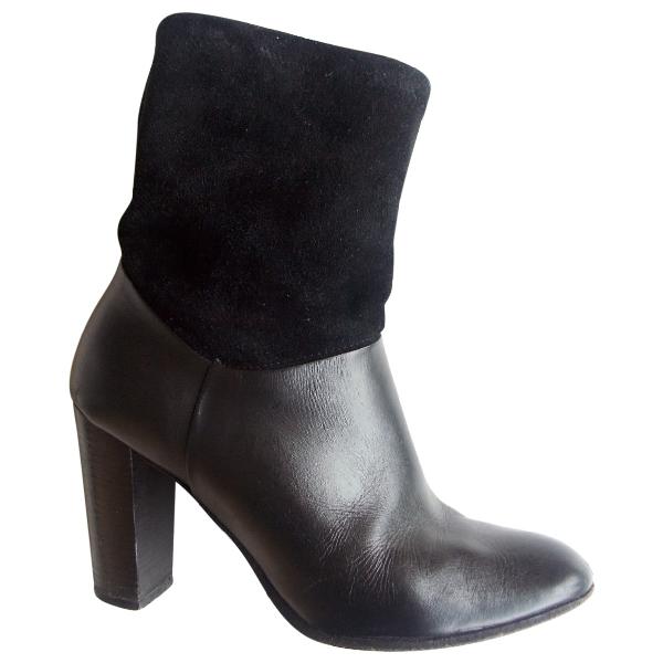 Comptoir Des Cotonniers Black Leather Ankle Boots