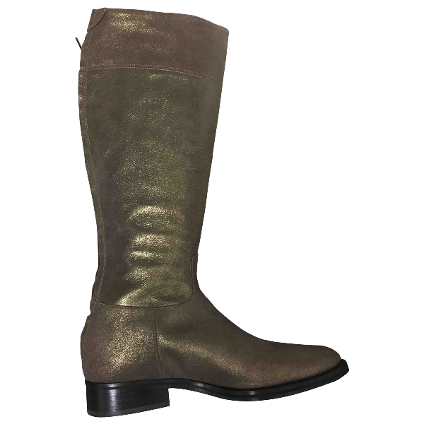 Pinko Gold Leather Boots