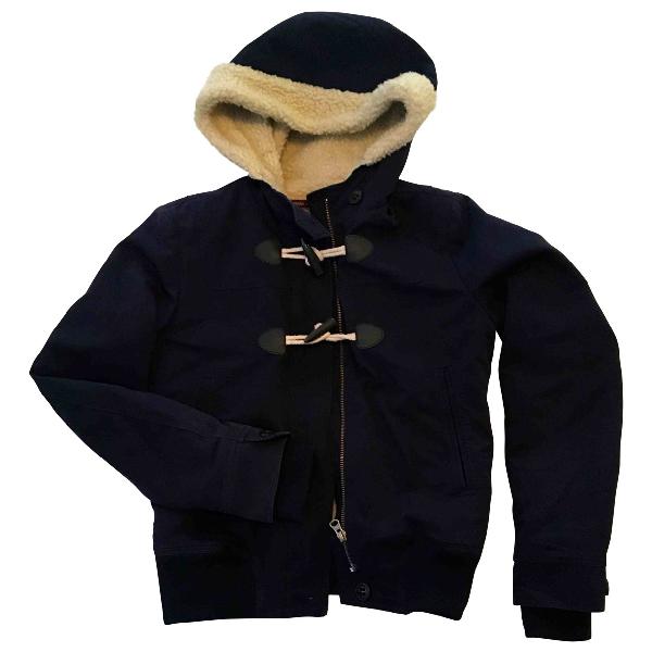 Comptoir Des Cotonniers Navy Cotton Leather Jacket