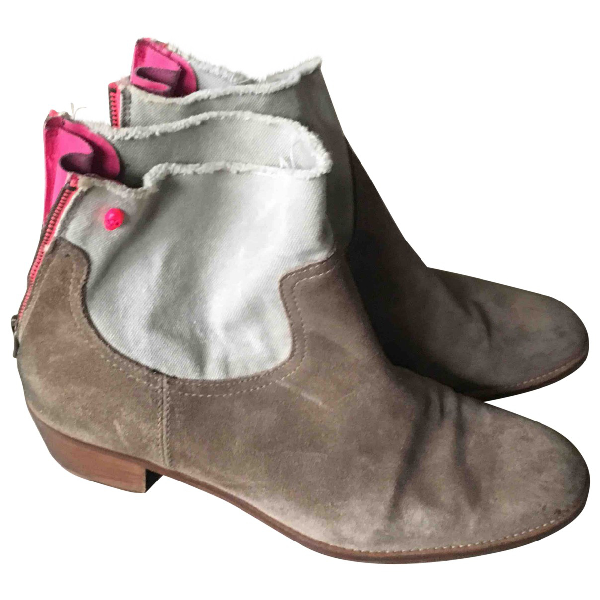 Zadig & Voltaire Beige Leather Ankle Boots