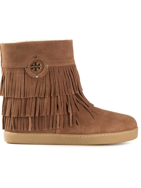 Tory Burch Collins Fringe Suede Boots In Havaea Tae