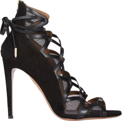 Aquazzura French Lover 105 Suede And Mesh Heeled Sandals In Llack