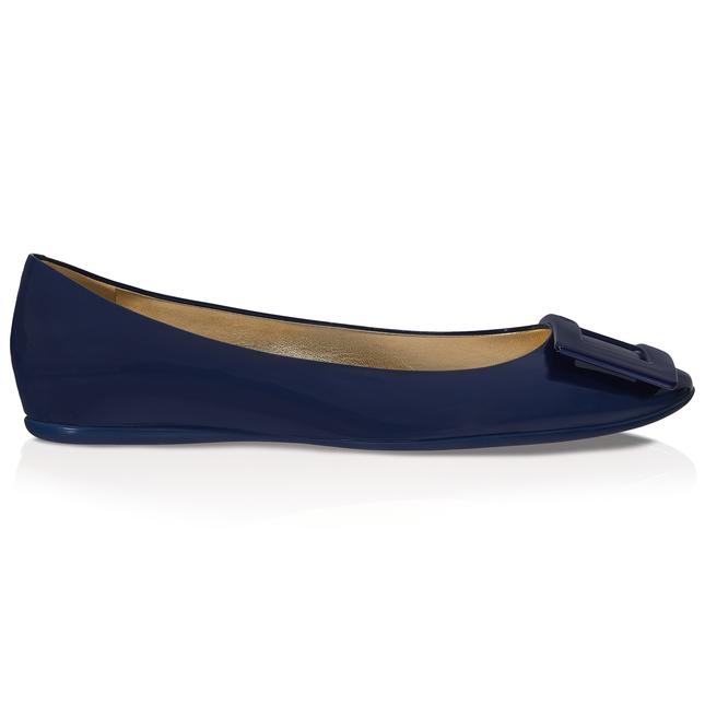 Roger Vivier Gommette Ballerinas In Patent Leather In Blue