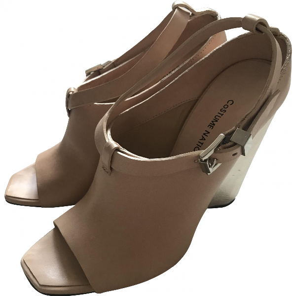 Costume National Beige Leather Sandals