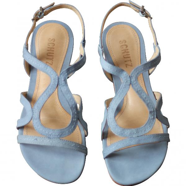 Schutz Blue Suede Sandals