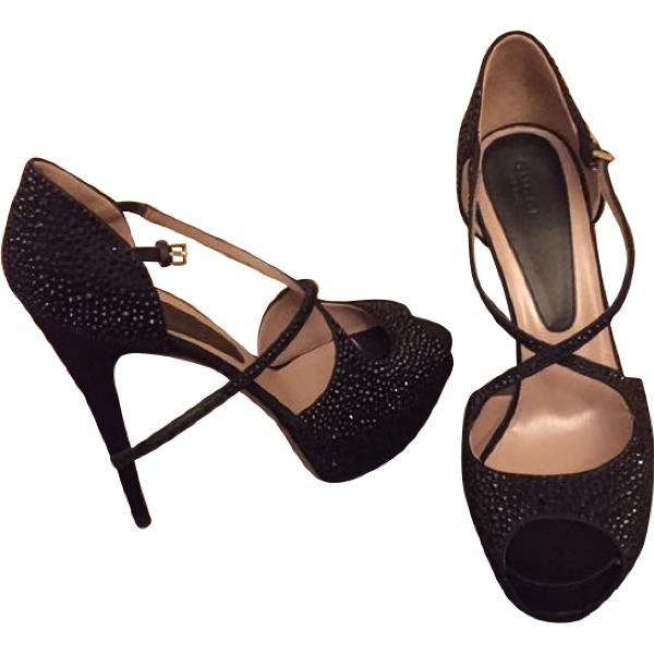 Gucci Black Cloth Sandals