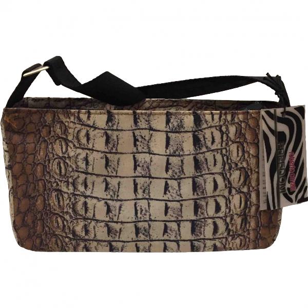 Roberto Cavalli Camel Cloth Clutch Bag