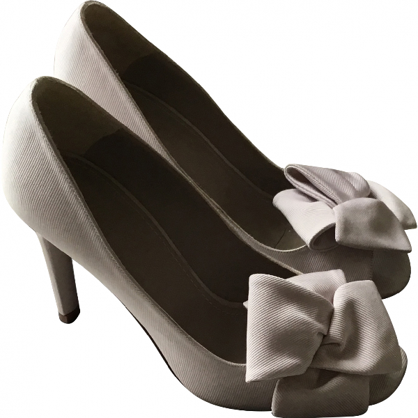 Paule Ka White Cloth Heels