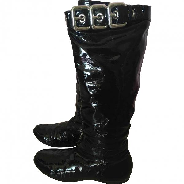 Miu Miu Black Patent Leather Boots
