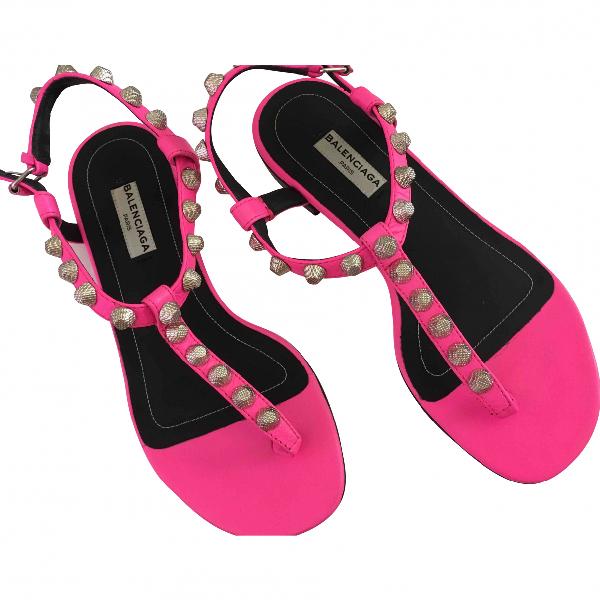 Balenciaga Pink Leather Sandals