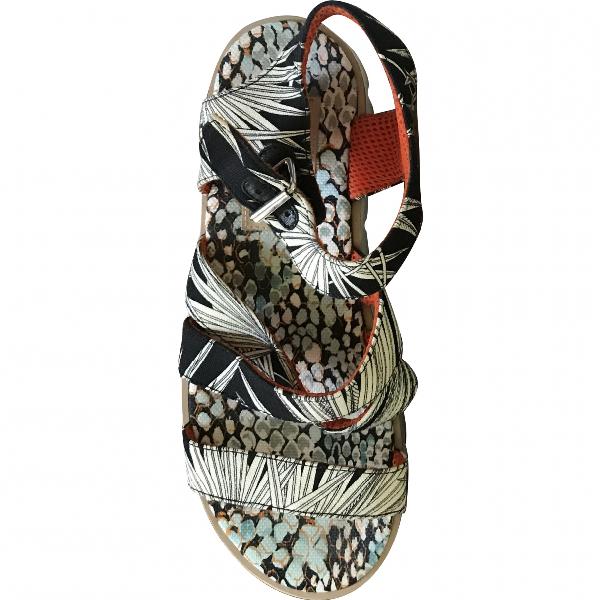 Msgm Black Cloth Sandals