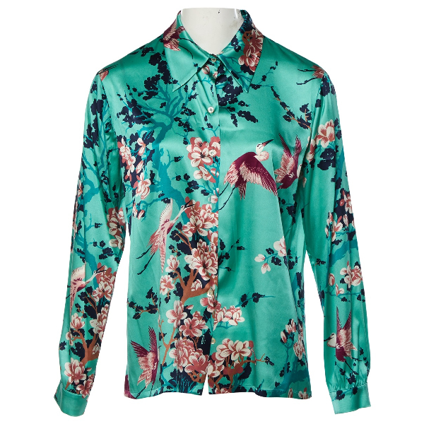 Laura Urbinati Green Silk  Top