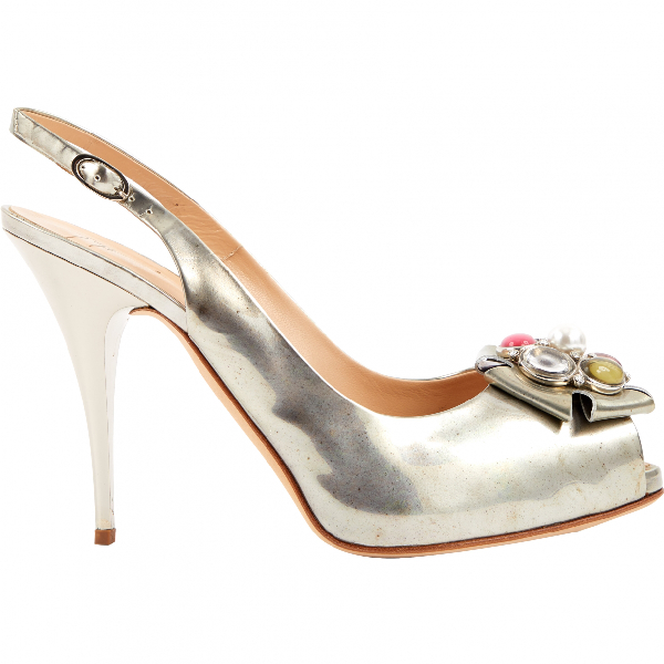 Giuseppe Zanotti Silver Leather Heels