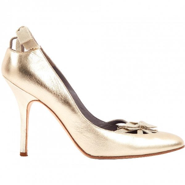 Anya Hindmarch Gold Leather Heels