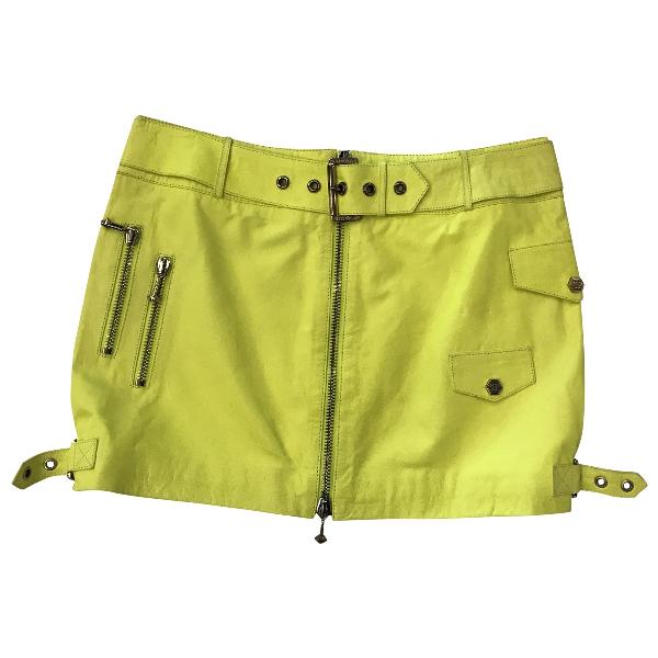 Philipp Plein Yellow Leather Skirt