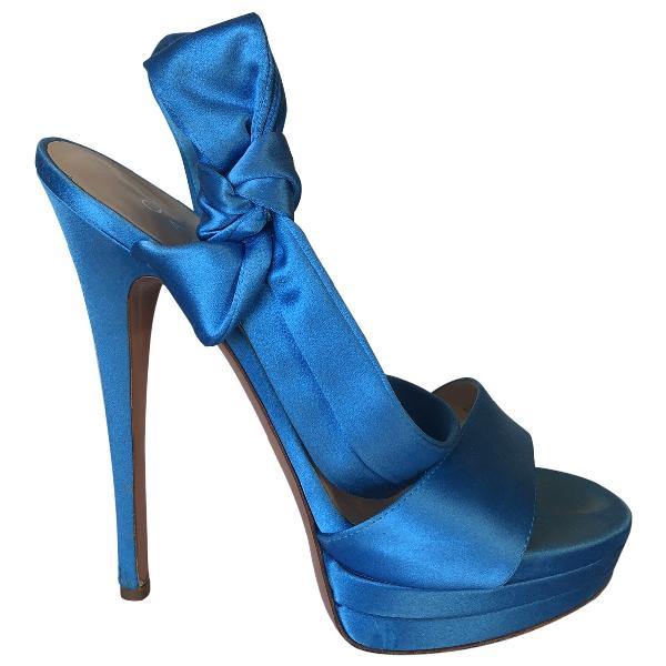 Casadei Turquoise Cloth Heels