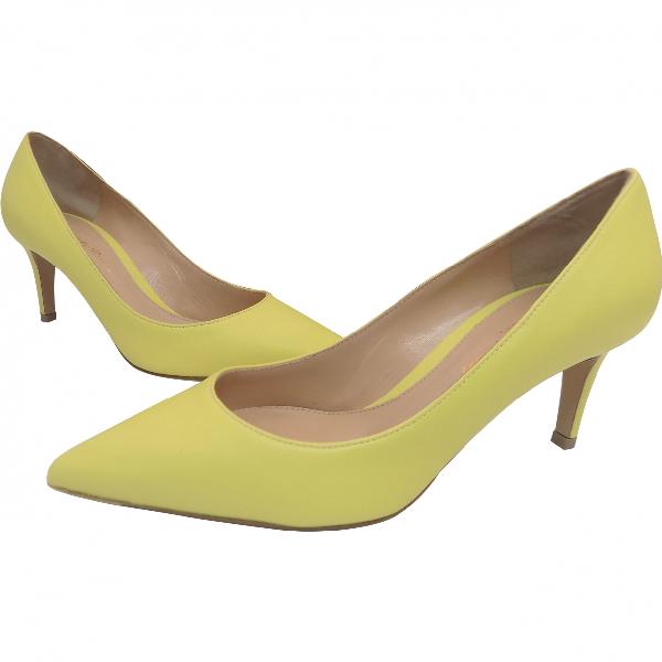 Gianvito Rossi Yellow Leather Heels