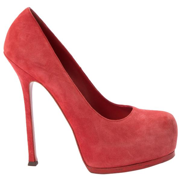 Saint Laurent Trib Too Red Suede Heels