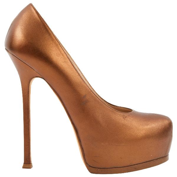 Saint Laurent Trib Too Gold Leather Heels