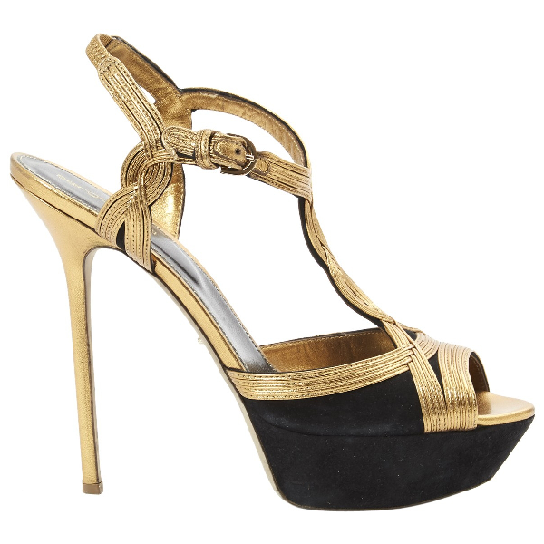 Sergio Rossi Gold Leather Heels