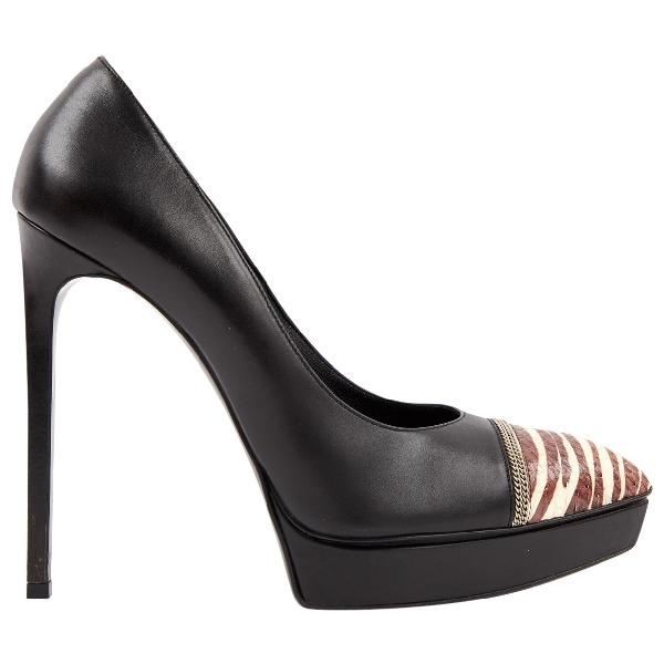 Saint Laurent Black Leather Heels