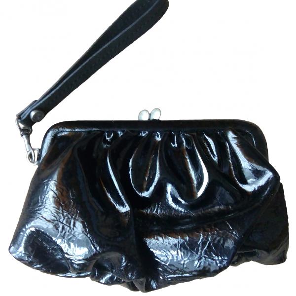 Vera Wang Black Patent Leather Clutch Bag